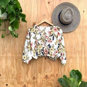 3/$25 White Floral Crop Wrap Blouse Top